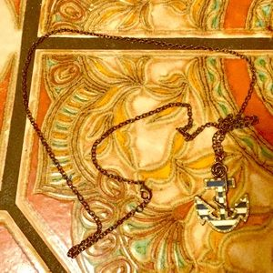 Betsey Johnson Anchor Rhinestone Brass Necklace